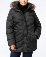 London Fog Plus Size Faux-Fur-Trim Down Coat