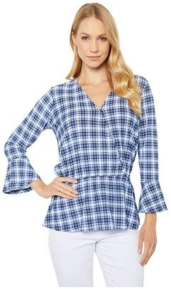 MICHAEL Michael Kors Plaid Ruffle Cuff Top (Chambray) Women's T Shirt
