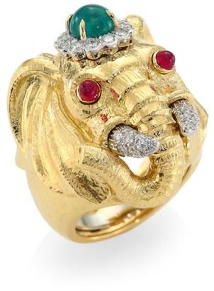 David Webb Kingdom 18K Yellow Gold, Platinum, Emerald, Diamond & Ruby Elephant Ring