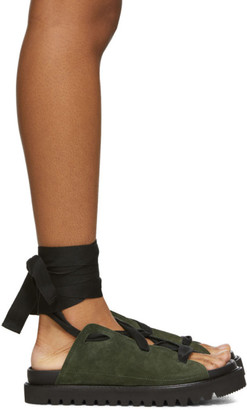 Plan C Green Lace-Up Platform Sandals