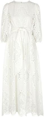 Borgo de Nor Constance White Lace-panelled Maxi Dress