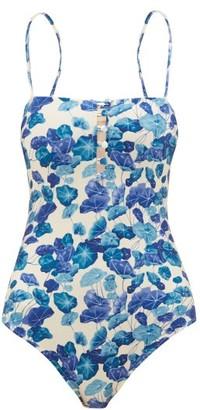 Adriana Degreas Square-neck Lotus-print Swimsuit - Womens - Blue Print