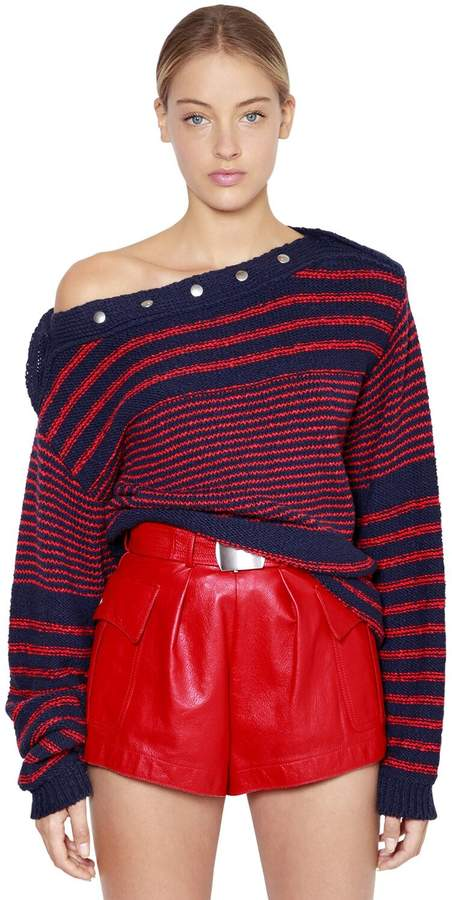 Philosophy di Lorenzo Serafini Oversize Striped Cotton Knit Sweater