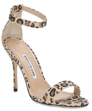 Thumbnail for your product : Manolo Blahnik 105mm Chaos Leopard Print Suede Sandals