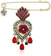 Betsey Johnson Roses Gold and Red Queen Heart Pin