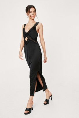 Nasty Gal Womens Lace Give 'Em the Slip Satin Midi Dress - Black