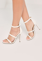 Missguided White Rounded Three Strap Barely There Heels