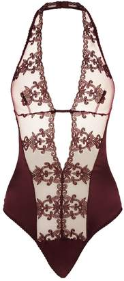 Fleur of England Silk Embroidered Plunge Bodysuit