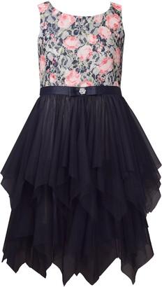 Iris & Ivy Metallic Lace Bodice Party Dress
