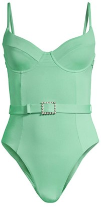 WeWoreWhat Danielle Belted One-Piece Swimsuit