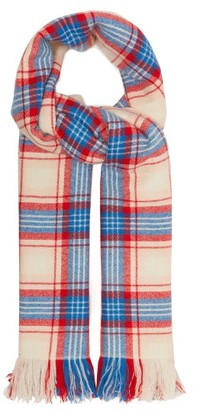 Isabel Marant Carver Checked Cashmere Blanket Scarf - Womens - Blue Multi