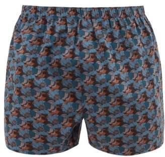 Sunspel Liberty Leafy Bloom Print Cotton Boxer Shorts - Mens - Blue Multi