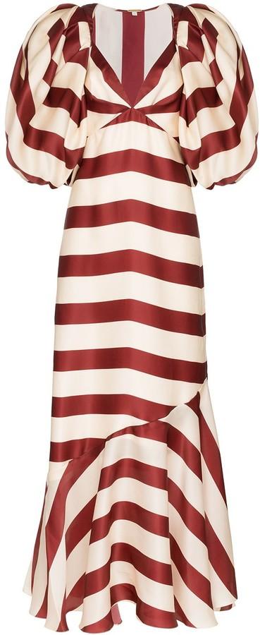 Johanna Ortiz Parada bolero-sleeve striped maxi dress