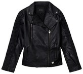 GUESS Black Pleather Jacket with Textured Sleeves