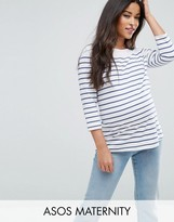 Asos Top in Cotton Breton Stripe with 3/4 Sleeve