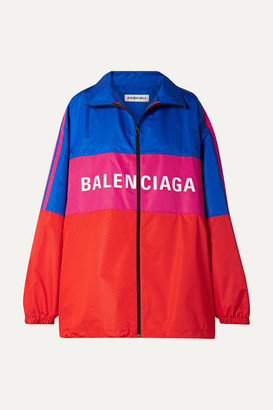 Balenciaga Oversized Printed Color-block Ripstop Jacket - Red