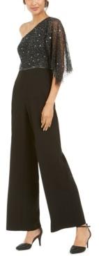 Adrianna Papell Embellished One-Shoulder Jumpsuit