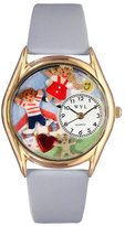 Whimsical Watches Women's C0640007 Classic Gold Day Care Teacher Light Blue Leather And Goldtone Watch