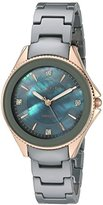 Anne Klein Women's AK/2390RGGY Diamond-Accented Rose Gold-Tone and Grey Ceramic Bracelet Watch