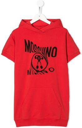 MOSCHINO BAMBINO Logo Print Hooded Dress