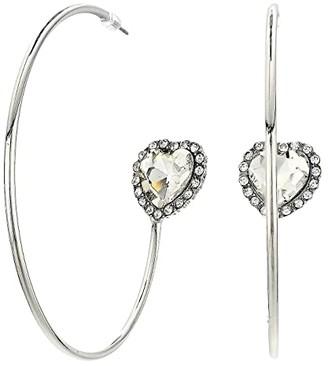 Steve Madden Heart Rhinestone Hoop Earrings (Silver) Earring