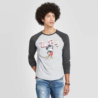 Mickey Mouse & Friends Men' Mickey Moue Long leeve Crewneck Bay Mickey Graphic T-hirt -