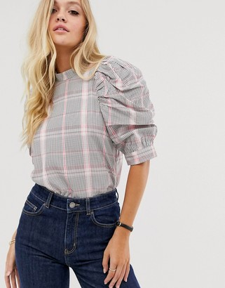 And other stories & plaid puff short-sleeve blouse in pink