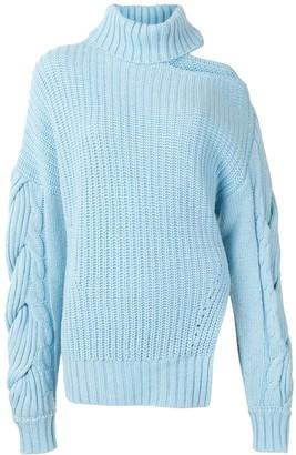 Jonathan Simkhai One-Shoulder Roll-Neck Knitted Jumper