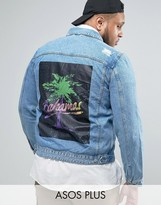 Asos PLUS Denim Jacket With Back Print in Mid Wash