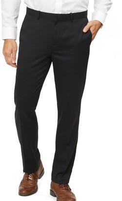 Tie Bar Solid Wool Black Dress Pants