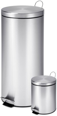 Honey-Can-Do 30L & 3L Stainless Steel Step Can Combo - Set of 2