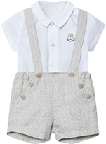 Mayoral White Linen Shirt and Beige Shorts Set