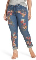 Melissa McCarthy Plus Size Women's Painted Flowers Skinny Jeans