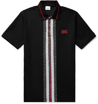 Burberry Slim-Fit Logo-Print Striped Cotton-Pique Polo Shirt