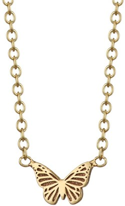 Zoë Chicco Itty Bitty 14K Yellow Gold Butterfly Pendant Necklace
