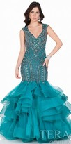 Terani Couture Keyhole Beaded Mermaid Evening Gown