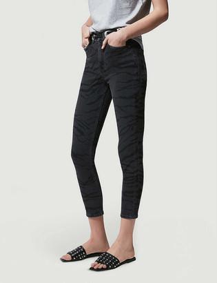 The Kooples Zebra-print skinny high-rise stretch-denim jeans