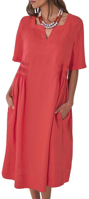 Blue Illusion Pleat Detail Midi Dress