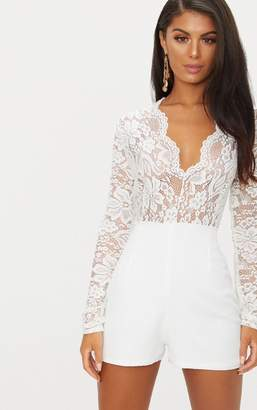 PrettyLittleThing White Lace Long Sleeve Plunge Playsuit