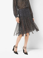 Michael Kors Tweed Silk-Chiffon Streamer Skirt