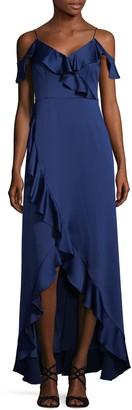 Aidan Mattox Cold-Shoulder Satin High-Low Dress