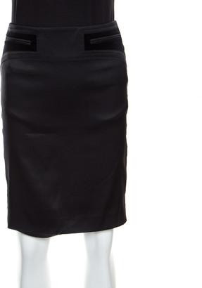Gucci Black Silk Velvet Trim Pocket Pencil Skirt S