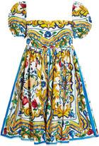 Dolce & Gabbana Printed Cotton-poplin Mini Dress - Yellow