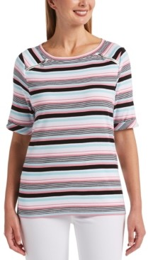 Rafaella Multi-Stripe Elbow Sleeve Boat Neck Top