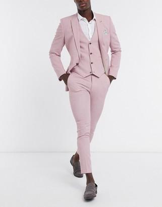 ASOS DESIGN wedding super skinny suit pants in rose cross hatch