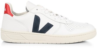 Veja V-10 Nautico Low-Top Leather Sneakers