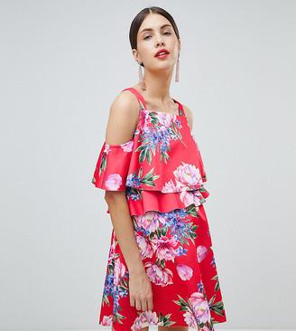 ASOS DESIGN Maternity nursing double layer mini skater in floral print dress