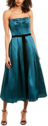 Marchesa Notte Strapless Printed Mikakdo Pique Midi Dress