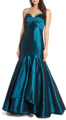 Mac Duggal Strapless Satin Mermaid Evening Dress