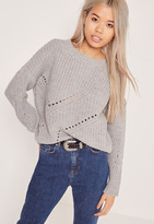 Missguided Grey Mini Cable Knit Sweater